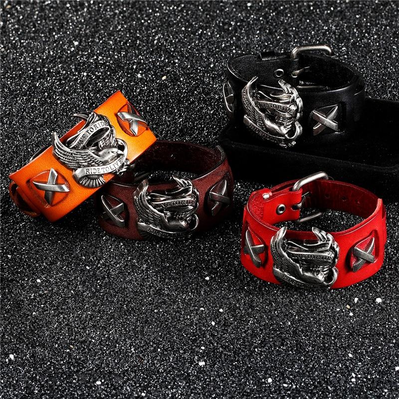Bobo Cover Punk Style Male Rider Eagle Genuine Leather Bracelet Ride to live Charm bracelets & bangles For Men pulseira de couro