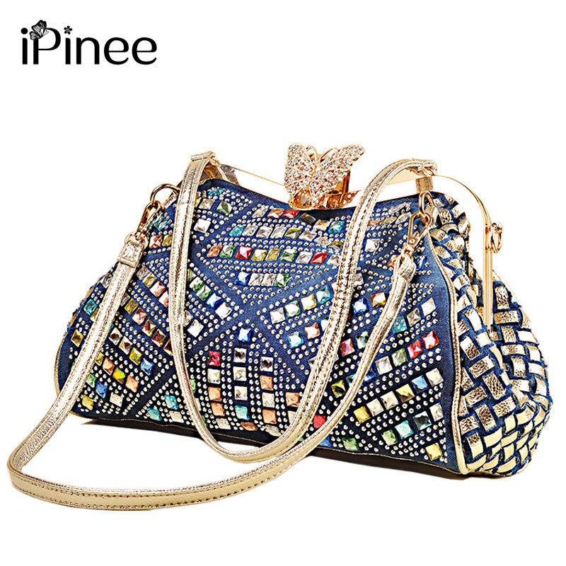 Bolsos De Mujer iPinee bolsos de moda para mujer bolsos de hombro de diseño de marca para mujer diamantes de imitación decorativos de mezclilla
