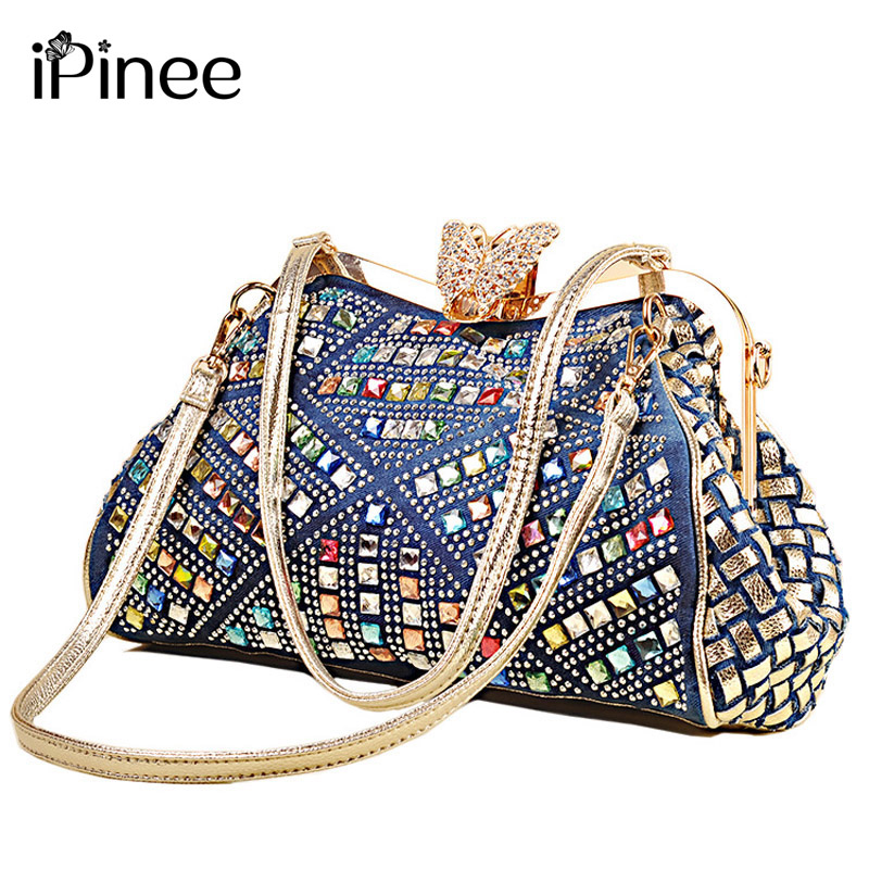 IPinee Ladies Handbags Women Fashion Bags Brand Design Women' Shoulder Bags Denim Rhinestones Decorative