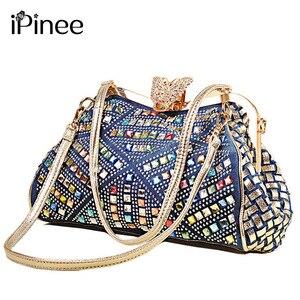 Image 1 - iPinee Ladies Handbags Women Fashion Bags Brand Design Women Shoulder Bags Denim Rhinestones Decorative