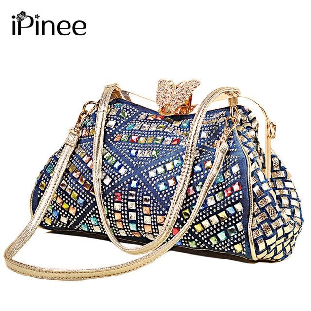 iPinee Ladies Handbags Women Fashion Bags Brand Design Women Shoulder Bags Denim Rhinestones Decorative