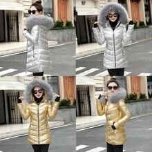 women winter jacket Long parkas Coat Fake Fur Collar Warm Outerwear Down Jacket Coat