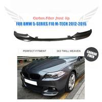 Plain Weave Carbon Fiber Front Bumper Guard Lip Spoiler Aprons Chin For BMW 5 Series F10 M Sport Bumper 2012 2015