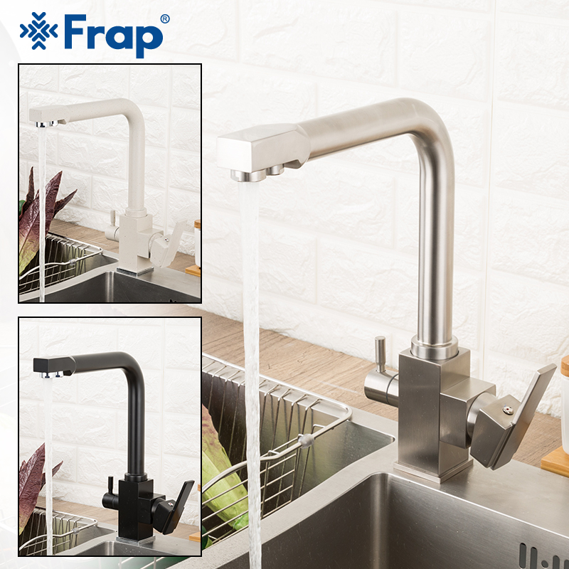 Frap Filter Kitchen Faucet Drinking Water Single Hole Black Hot and cold Pure Water Sinks Deck