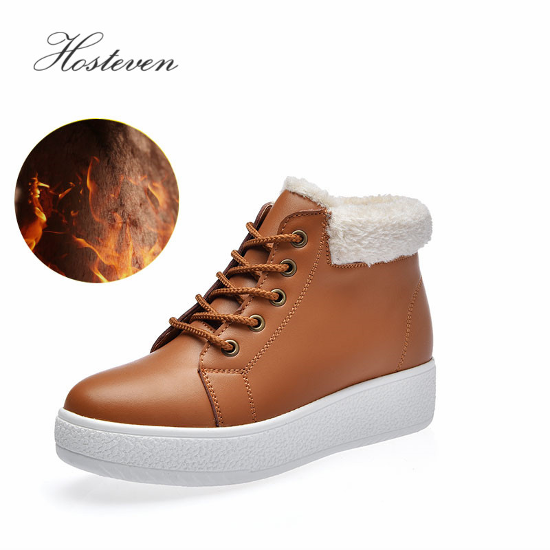 Hosteven Women Snow Boots Casual Fashion Plush Fur Genuine Leather Winter Autumn Warm Mother Ladies Students Solid Female Shoes