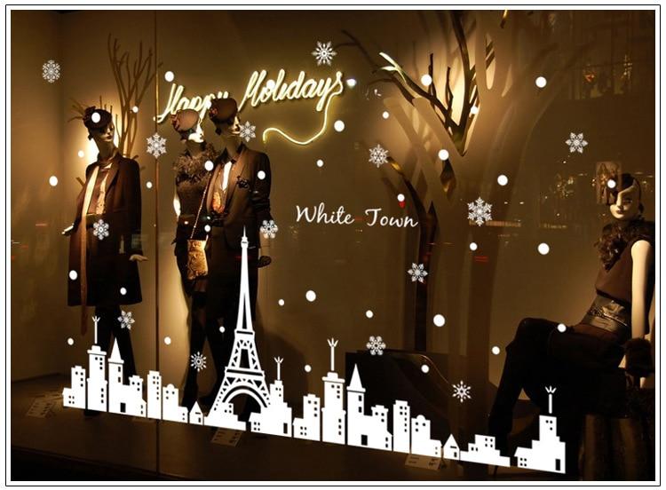 unidsset navidad etiqueta de la pared de navidad nieve blanca torre ciudad