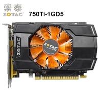 Оригинал ZOTAC видео карты GTX750Ti-1GD5 128Bit GDDR5 1GD5 Графика карты для nVIDIA карта GeForce GTX750 Ti 1 ГБ VGA, Hdmi, Dvi используется