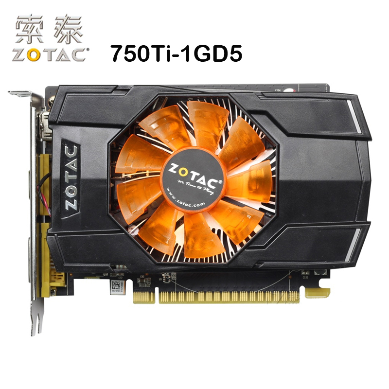 Original ZOTAC Video Card GTX750Ti-1GD5 128Bit GDDR5 1GD5 Graphics Cards for nVIDIA Map GeForce GTX750 Ti 1GB Hdmi Dvi VGA Used 1gb 450 128bit graphics card pci e vga dvi hdmi for nvidia geforce game video graphics upgrade card