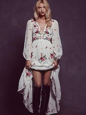 2018 flower embroidery long dress free cotton v neck long sleeve white boho dress people bandage sexy loose dress bohemian dress