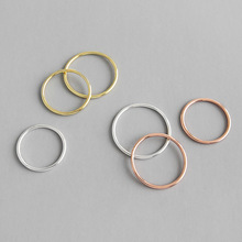 HFYK 925 Sterling Silver Ring Round Circle 1.2mm Thin Rings For Women Rose Gold Silver Small Ring bague femme argent 925 anillos thailand imports 925 silver gold virgin silver ring