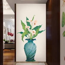 New 5D wall stickers Calla lily vase PVC removable waterproof DIY  TV backdrop decorative painting creative wallpaper