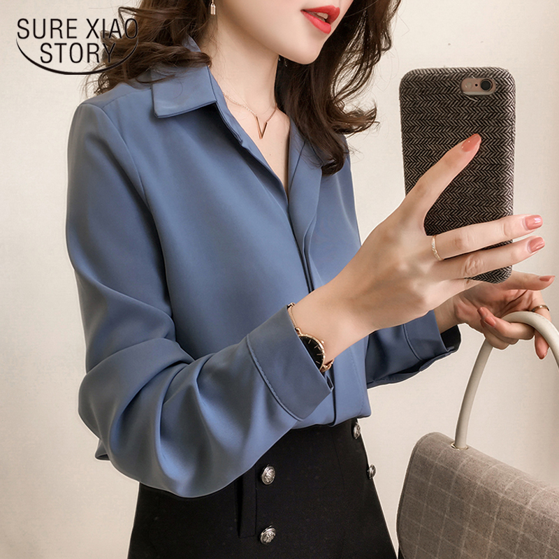 cfbedeebcc2 2018 new women spring shirt long sleeve chiffon blouse simple female pure  Korean women clothing plus size fashion shirts ...
