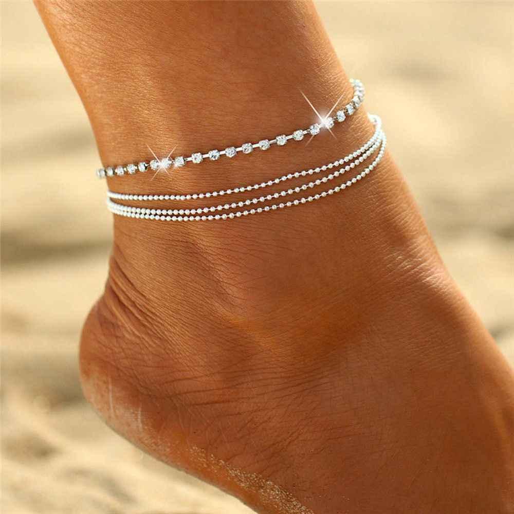 1 adet kristal boncuklar Katmanlı Zincir Moda Ayak Bileği Bilezik Charm ayak takısı çizme takı zincirleri cheville Bacak Bilezik
