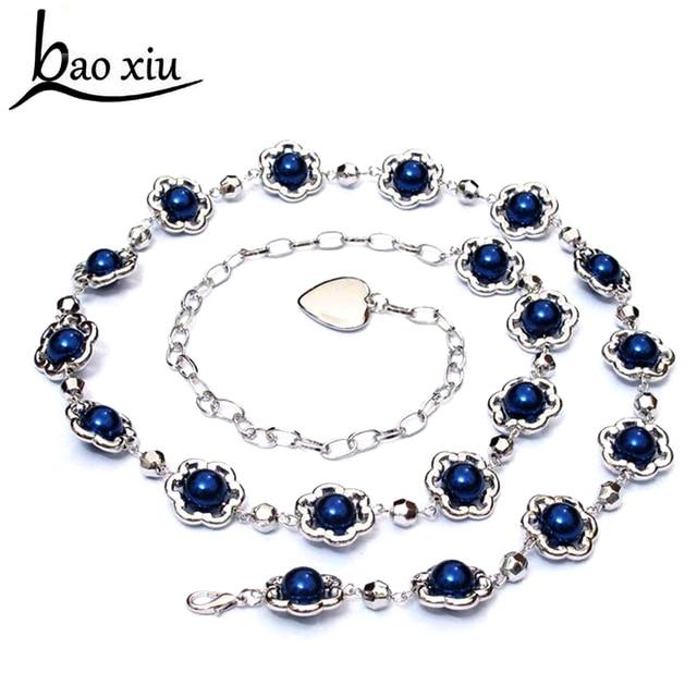 3fcc29d8544f Nouvelles Femmes De Mode Chaîne En Métal Ceinture Perle Strass Fermoir  Mince Taille ceintures Ceinture Femelle