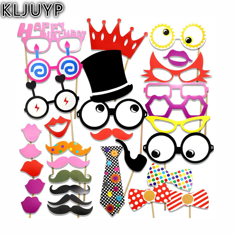 KLJUYP Merry Christmas Photo Booth Props Photobooth Wedding Favors Glasses Paper Card Funny Mask Party Decoration Photocall