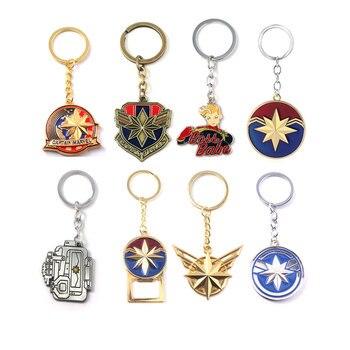 Los Vengadores 4 capitán Marvel llavero Logo de Marvel Carol Danvers Beeper forma clave colgante cadenas mujeres hombres placa llavero de la joyería