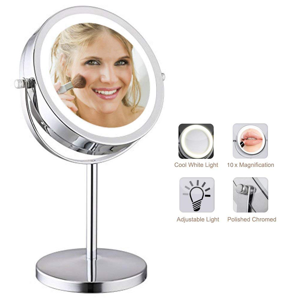 LED Lighted Makeup Mirror Double Sides Table Mirror 10x Magnification Eye Makeup Mirror Daily Beauty Cosmetics alhakin 7 inch led table mirror silver chrome uv finish 10x magnification d710 makeup mirrors cosmetic beauty with ce approved