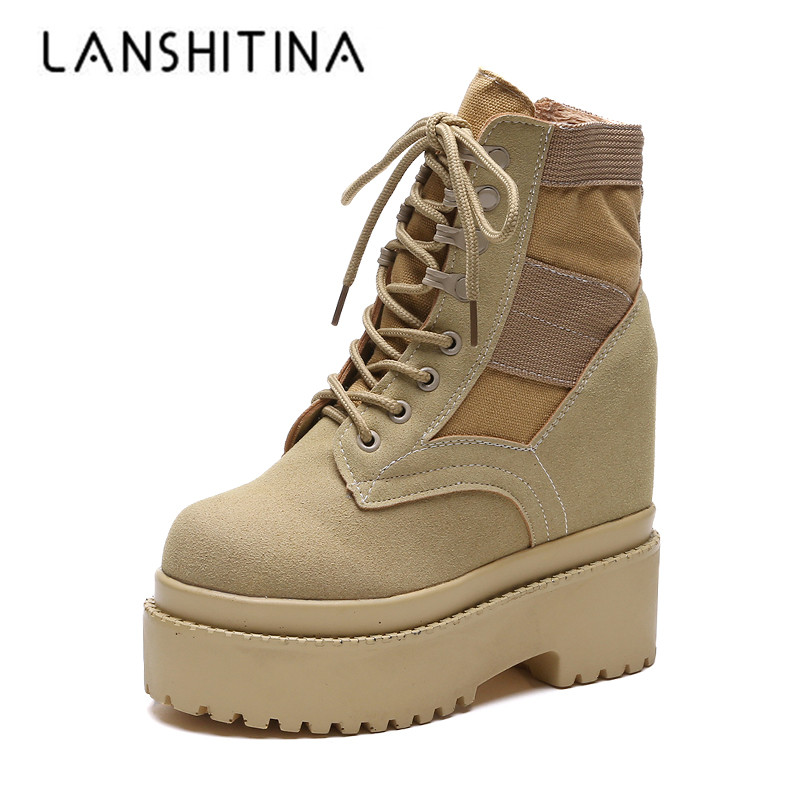 2018 Women Ankle Boots Fashion Platform Winter Casual Shoes Wedge 12.5 CM Sneakers Short Plush Warm Boots Outdoor Fur Snow Boots цена