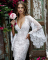 Joky Quaon Custom Made Sexy Deep V Neck Open Back Trumpet Long Sleeves Sparkly Beads Lace Graduation Cocktail Dresses Gown 2017