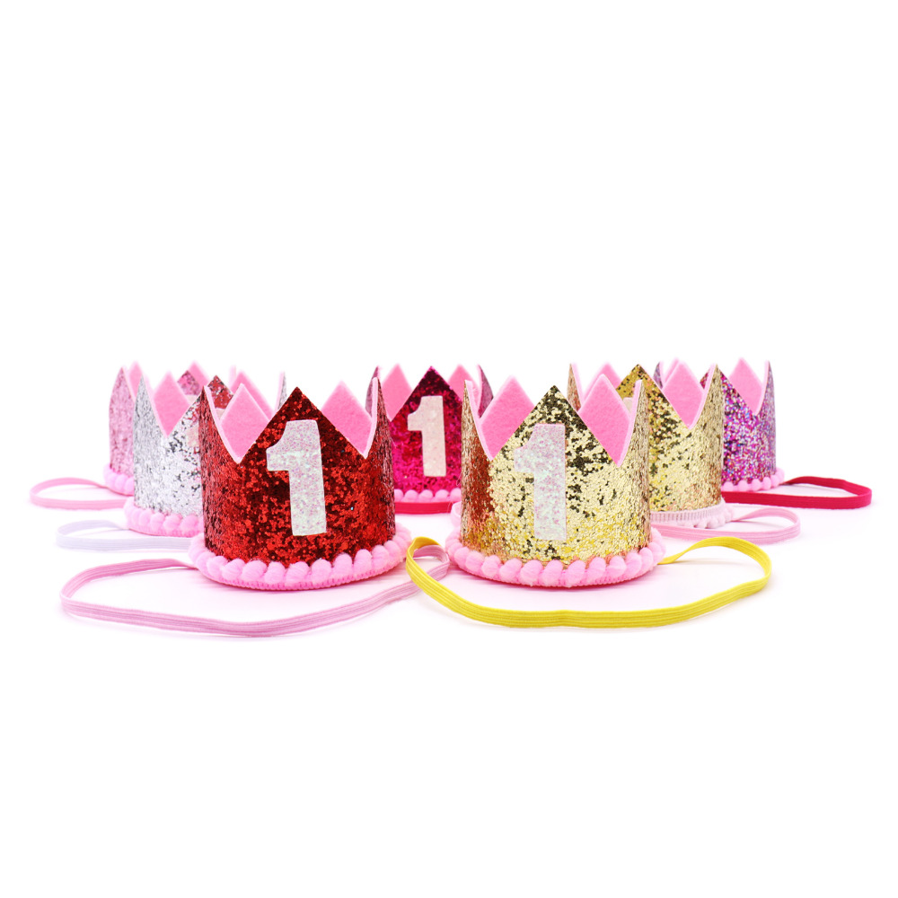 Baby Girl Boy Kids First Birthday Hat Headband Crown 1 Year Old Princess Hairband Photo Props