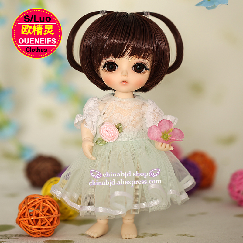OUENEIFS free shipping, chiffon dress,round neck Lace sleeve, in summer, 1/8 bjd sd doll clothes,no dolls and wigs YF8-101  1