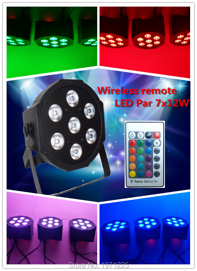 22 pcs/lot Fast shipping Wireless remote control the brightest 8 dmx Channels Led Flat Par 7x12W RGBW 4IN1 factory directly sale  4pcs lot the brightest 4 8 dmx channels led flat par 18x12w rgbw 4in1 led par can light with power in power out