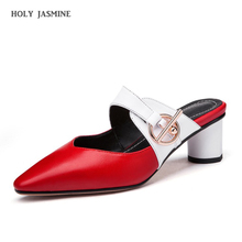 2019 New Women High Heel Sandals Genuine Leather Shoes Women Summer Buckle Beach Slippers Casual Party Slides Shoes Size 34-42 drkanol new design flat beach slippers summer women slippers shoes double buckle cork casual slides women sandals big size 35 44