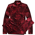 Silk Shirts Men Mandarin Collar Suit Dragon Shirt Long Sleeve Plus Size 3XL Chinese Shirts Dress Kung Fu Clothing Silk Blouse