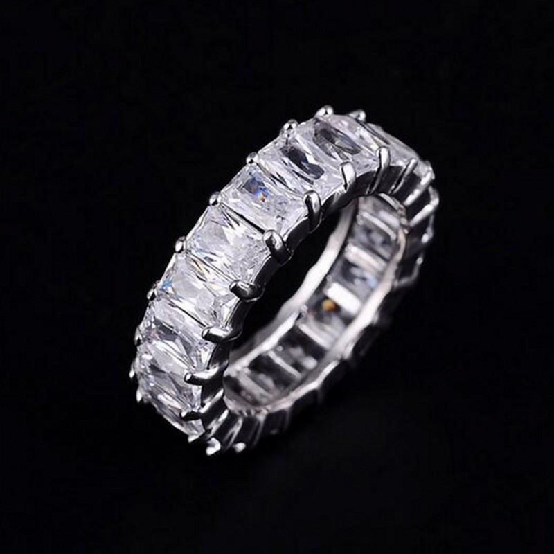 925 SILVER PAVE SETTING FULL SQUARE Diamant CZ ETERNITY BAND ENGAGEMENT WEDDING Stone Rings Size 6,7,8,9