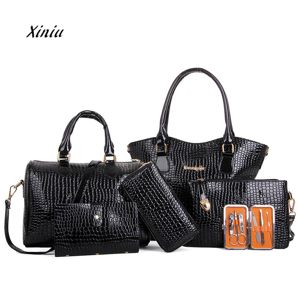 6PCS Set Bag Women Fashion Handbag Shoulder Bags Six Pieces Tote Bag Crossbody PU Leather Handbags Female High Quality Bags miwind new fashion leather handbags high quality women shoulder bags buy one get another free full set 6 pieces more favorable