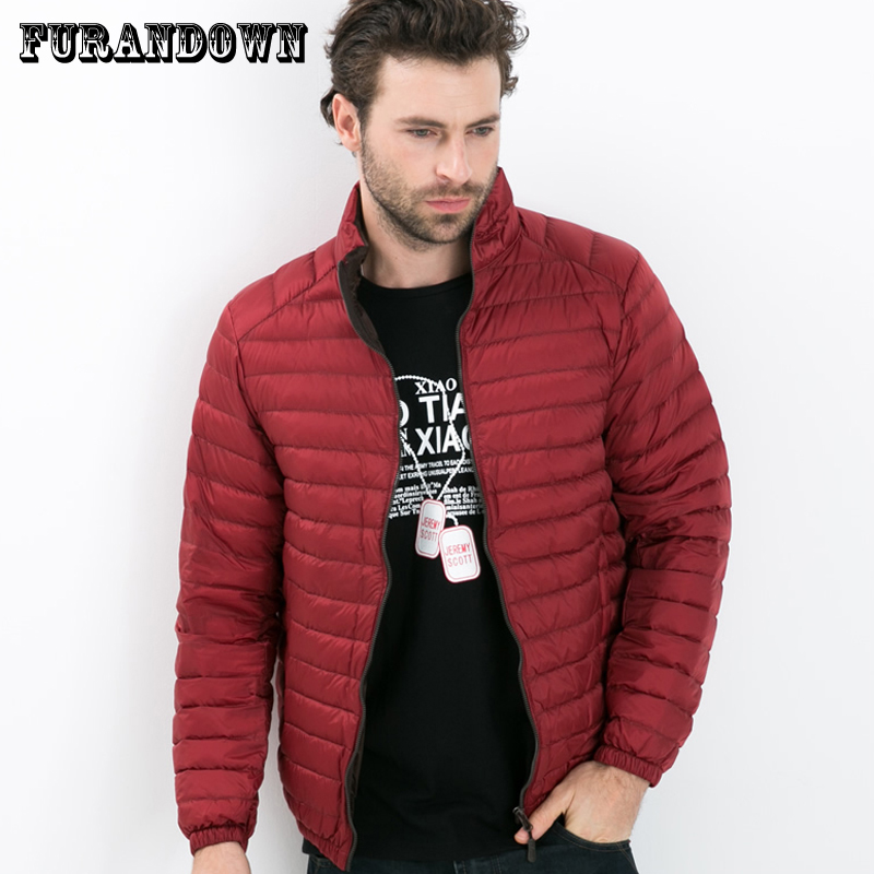 2018 New Mens Winter Coat Down Parkas Solid Color Ultra Light White Duck Down Jacket Plus Size 4XL
