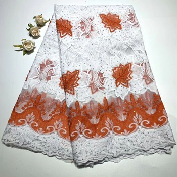 High Quality African Lace Fabric New French Lace cord fabric with stones Nigerian Lace Fabrics for women Dress   DFN63
