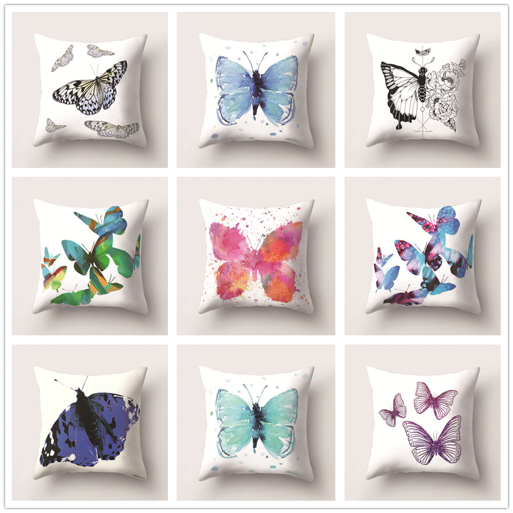 Butterflies Cushion Cover Decorative Pillow Cases for Sofa Car Bed Office Seat Soft Peach Skin Living Room Home Decoration 45x45