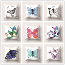 Butterflies Cushion Cover Decorative Pillow Cases for Sofa Car Bed Office Seat Soft Peach Skin Living Room Home Decoration 45x45 цены