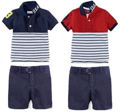 9350be3b6 Wholesale Children Brand Name Clothing 2pcs Sets Boys Short Sleeve Polo  Shirt + Pants Set Summer New Style Boy's Casual Outwear