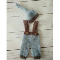 Mohair Hat Romper Elf Bonnet Baby Fotografia Hand Knitting Cap Mohair Baby Overalls Photo Props Newborn