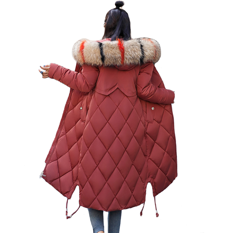 2019 New Arrival Winter Jacket Women With Colorful Fur Hooded Womens Jackets Winter Outwear Long Female Coat Parka Slim