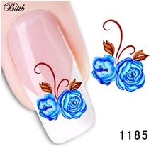 Bittb Nail Sticker Blue Flower Pattern Fingernail Art Beauty Make Up Nail Care Manicure Nail Makeup Tool Foil DIY Nail Decals