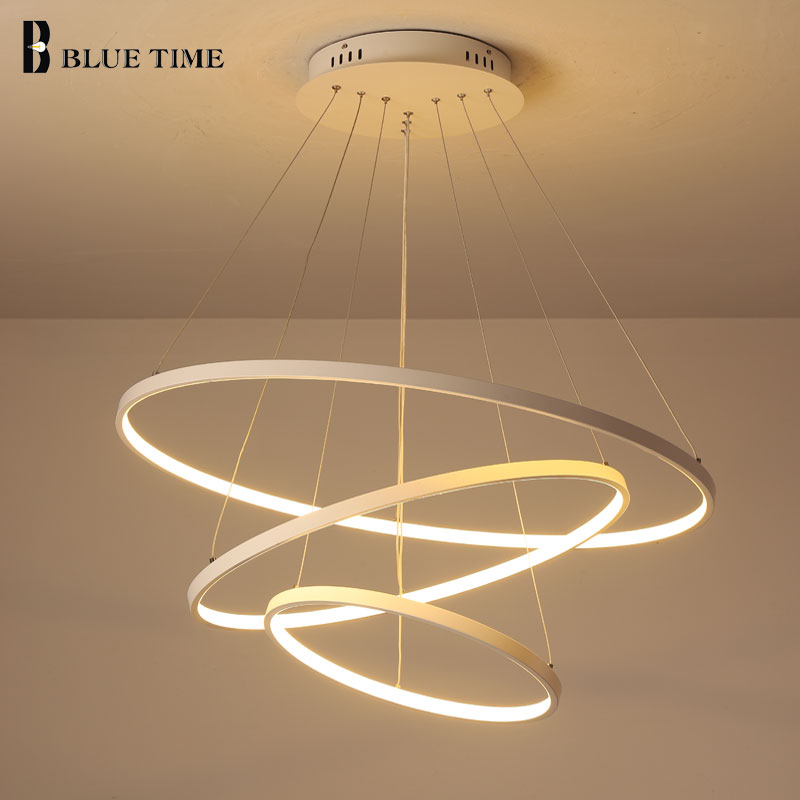 Modern LED Pendant Light Hanging Lamp Black White Ring Pendant Lamp For Dining Room Living Room