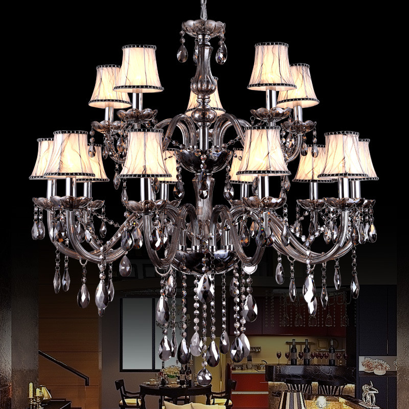Large Gray Chandelier Lighting Hall Hotel Living room Stairwell Chandelier Indoor House Decor luster crystal Chandelier Lamp in Chandeliers from Lights Lighting