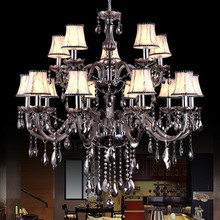 цены на Large Gray Chandelier Lighting Hall Hotel Living room Stairwell Chandelier Indoor House Decor luster crystal Chandelier Lamp  в интернет-магазинах