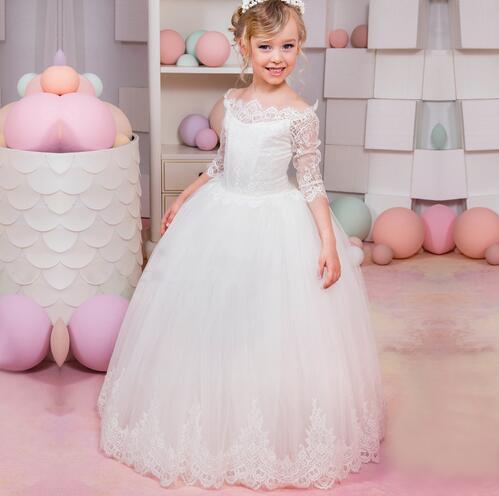 цена на New Arrival White Flower Girl Dresses Three Quarter O-neck Lace Up Birthday Pageant Gowns Vestidos Longo for Weddings