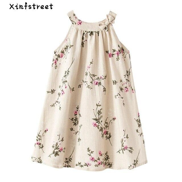 7aa0893b0b Bébé Filles Robe Marque D'été Plage Enfant Tissu Imprimé floral Parti  Backless Robes Pour
