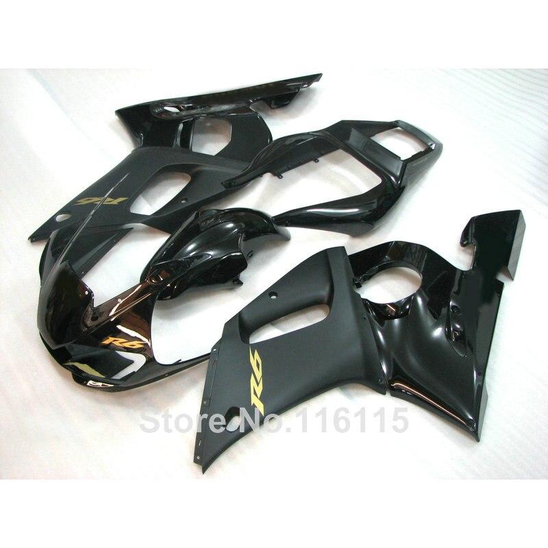 ABS carénage kit fit pour YAMAHA R6 1998 1999 2000 2001 2002 R6 tous noir YZF R6 carénages ensemble 98 99 00 01 02 #3205