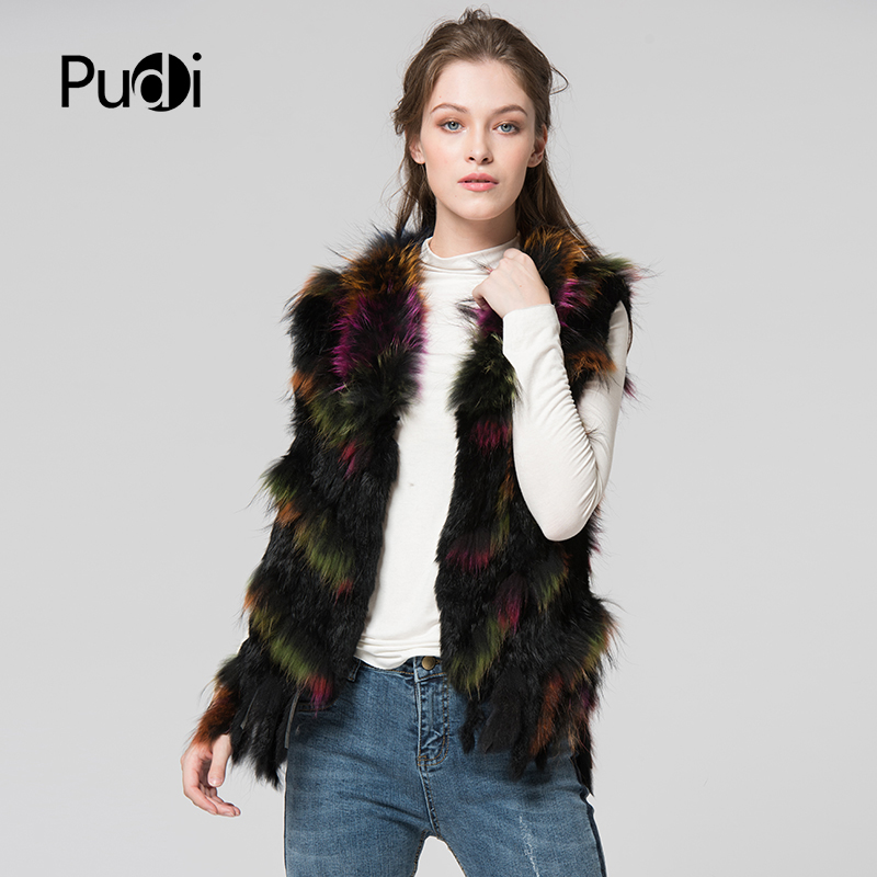 VR080 new women s vest Real Knitted Rabbit Fur Vest with tassel Raccoon Fur Collar Waistcoats