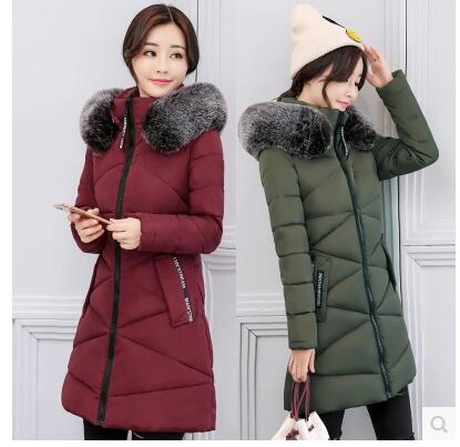 2017 winter cotton women in the long section of self-cultivation thickening cotton Korean version of the big fur collar feather sky blue cloud removable hat in the long section of cotton clothing 2017 winter new woman