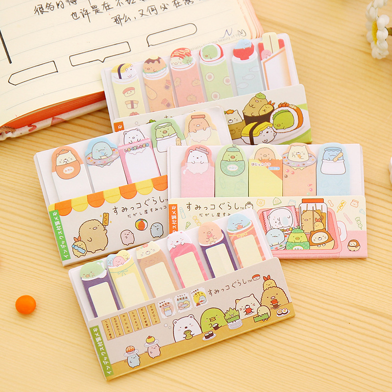 2 Pcs Korea style Stationery Writing Pads Cute Corner creature mini message post Sticky note Memo pads Office & School Supplies