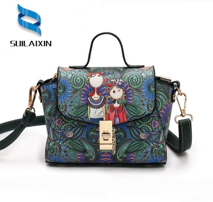 100% High Quality Women Designer Leather Trapeze Bag Ladies Small Mini Green Forest Clutch Printing Shoulder Bags Bolas 2018