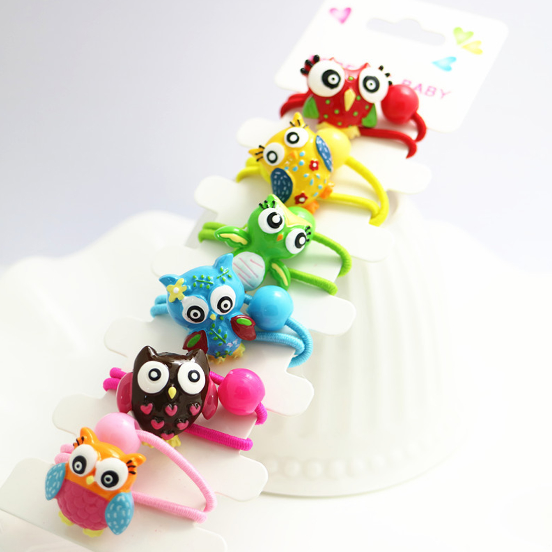 6PCS/Lot Girls   Headwear   Hairbands Owl Hair Bands Hairgrips Candy Color High Elastic Hair Bands Rubber Tie Gum Holder