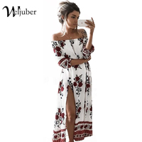 Weljuber Summer Beach Boho Maxi Split Dress Women Off Shoulder Long Print Flower Dresses High Quality